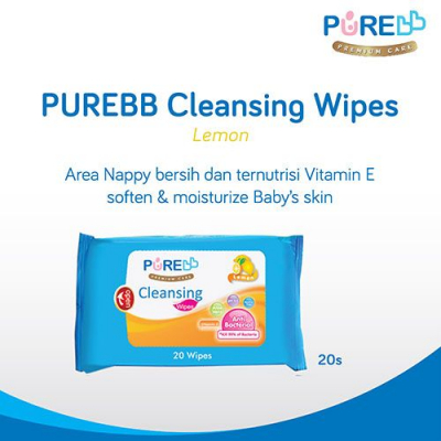 PUREBB CLEANSING WIPES LEMON 20'S