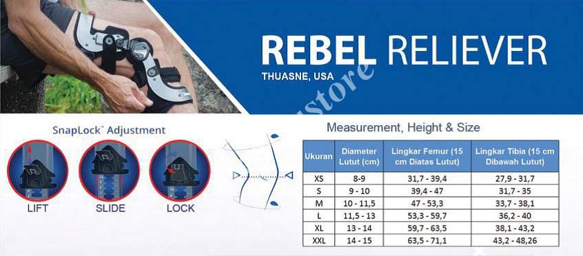 Tabel ukur Townsend Rebel Reliever